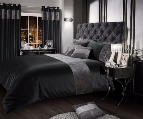CHARCOAL BLACK STYLISH CRUSHED VELVET DUVET COVER LUXURY BEAUTIFUL BEDDING